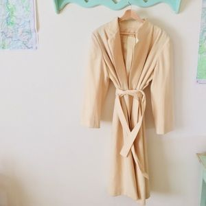 Vintage cream Featherlite belted wool coat